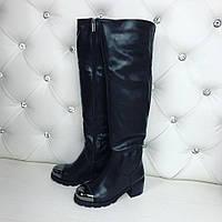 Женские зимние черные сапоги экокожа серебрянный носок