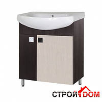 Тумба для ванной комнаты с раковиной Мойдодыр Домино Плюс 70-Ф венге/беж