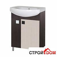 Тумба для ванной комнаты с раковиной Мойдодыр Домино Плюс 60-Ф венге/беж