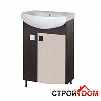 Тумба для ванной комнаты с раковиной Мойдодыр Домино Плюс 50-Ф венге/беж