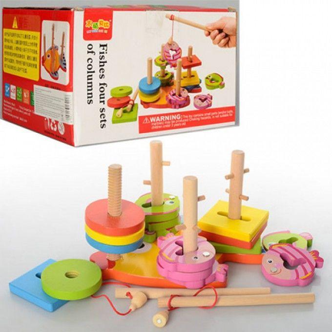 Деревянная игрушка Геометрика MD 0902 квадраты,круги,рыбалка(рыбки с м