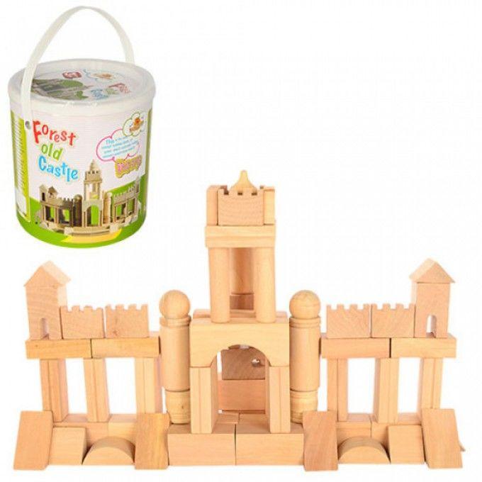Деревянная игрушка Городок QZM-0203 замок, в ведре, 18-18-19см