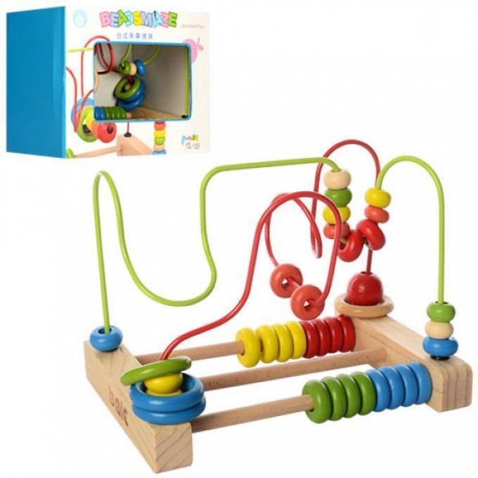 Деревянная игрушка Лабиринт YDL-1055 на проволоке, счеты, в кор-ке,23-