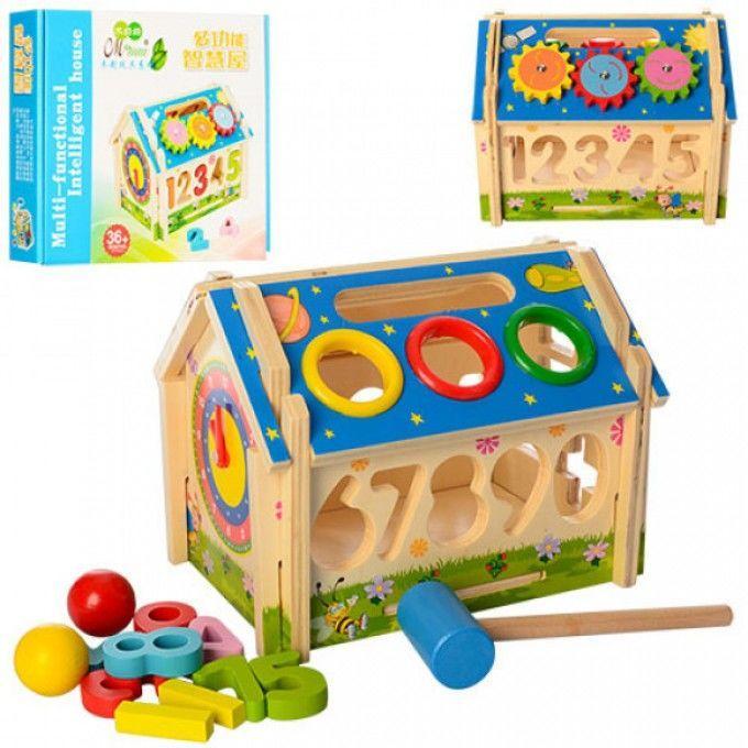 Деревянная игрушка Игра M01454 домик, сортер (цифры), стучалка, часы,