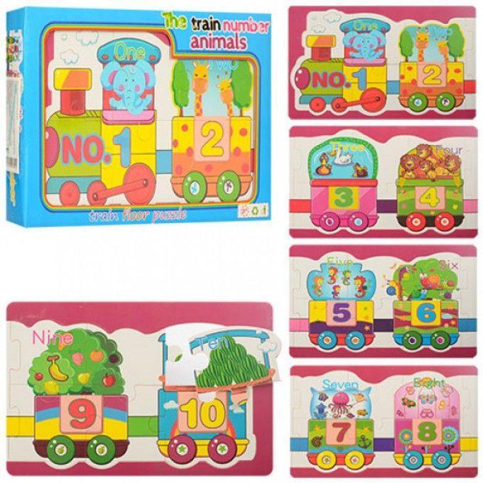 Деревянная игрушка Пазлы MD 0968 животные+цифры, в кульке, 29-19-4см