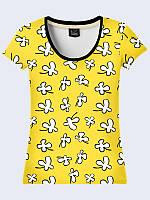 Женсая футболка Белые цветочки на желтом
