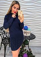 Стильное теплое коротенькое платье туника со стразами машинная вязка красное серое синее