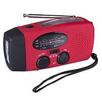 Фонарь с динамо Haoyi HY-088WB красный с USB FM AM радио