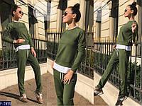 Стильный хаки с имитацией футболки женский спортивный костюм турецкая двунить+вискоза.Арт-15161