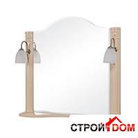 Зеркало с двумя светильниками Аква Родос Арт Деко 80 айвори