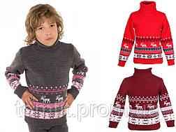 """Детский теплый шерстяной свитер """"Олени"""", для мальчиков, оптом, фото 2"""