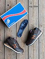 fa180214 Зимние мужские кроссовки в стиле New Balance 574, мех цигейка кожа  коричневые , фото 1
