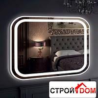 Прямоугольное зеркало со скруглёнными углами с LED подсветкой Liberta Carisma 800x700