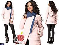 Женская куртка плащевка с отделкой плотный джинс нежно-розового цвета. Арт - 18191