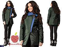 Женская куртка плащевка с отделкой плотный джинс темно-зеленого цвета. Арт - 18191