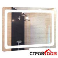 Прямоугольное зеркало со скруглёнными углами с LED подсветкой Liberta Forli 800x500 с линзой x3