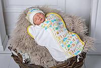 """Евро пеленка кокон """"Half"""" Азбука на молнии для ребенка с 0 до 3 месяцев (пеленка + шапочка) ТМ MagBaby 100280"""