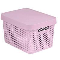 Коробка пластиковая с крышкой Infinity 17 л 360x270x220 мм розовая ажурная N40520796