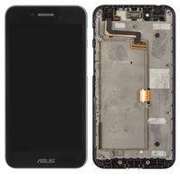 Дисплей для мобильного телефона Asus PadFone S PF500KL, черный, с сенсорным экраном, с передней панелью