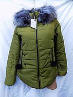 Куртка женская зима с меховым капюшоном 401 олива