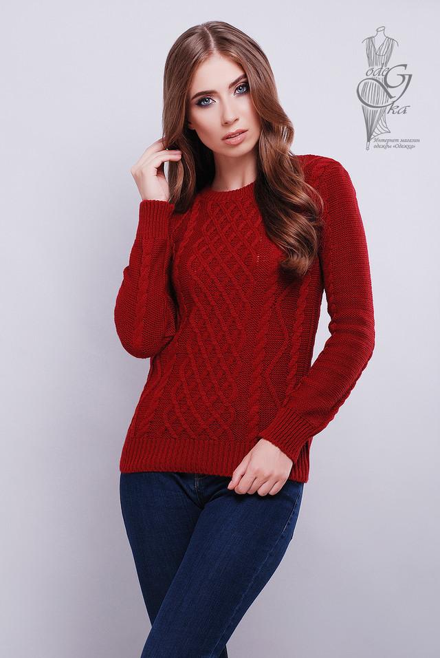 Бордовый цвет Красивых женских свитеров Дебора