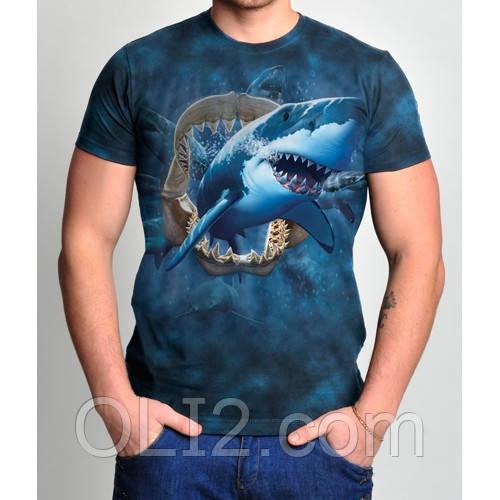 Мужские футболки 3 D   акула