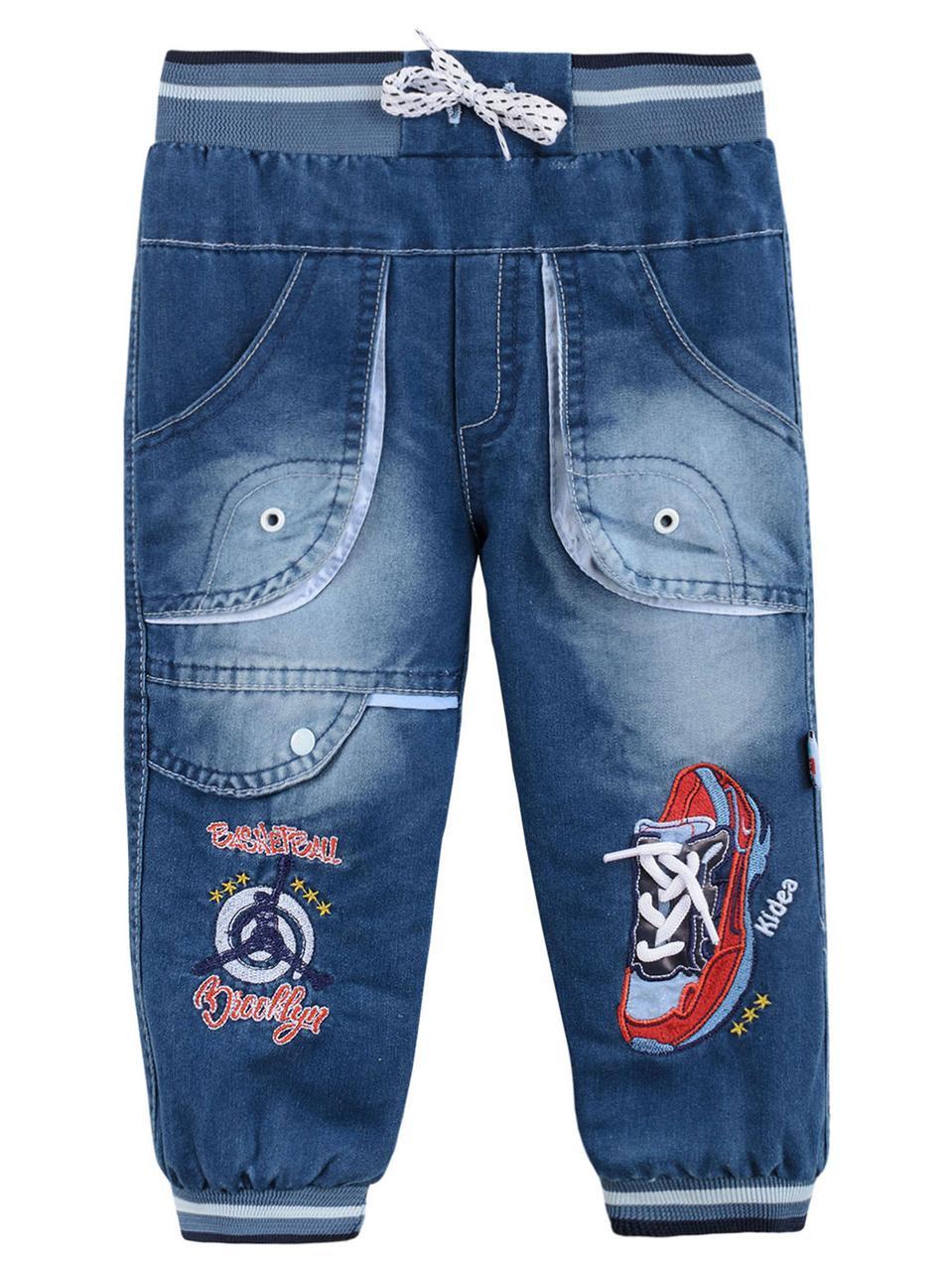 Утепленные джинсы на мальчика, махра, р.98,104