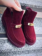 Элегантные замшевые ботинки. Цвет марсала