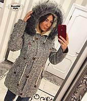 Зимнее твидовое пальто-парка