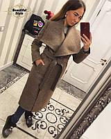 Стильное женское пальто с поясом