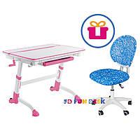 Комплект Парта регулируемая FunDesk Volare Pink + Компьютерное кресло для подростка FunDesk LST1 Blue
