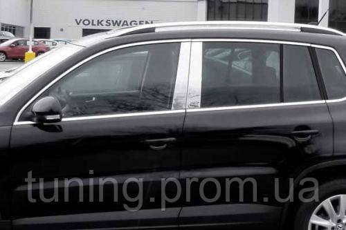 Хром накладки на стойки дверей  Volkswagen Tiguan 2010-2012