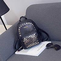 Рюкзак женский Nevenka кожаный маленький с заклепками  (черный)