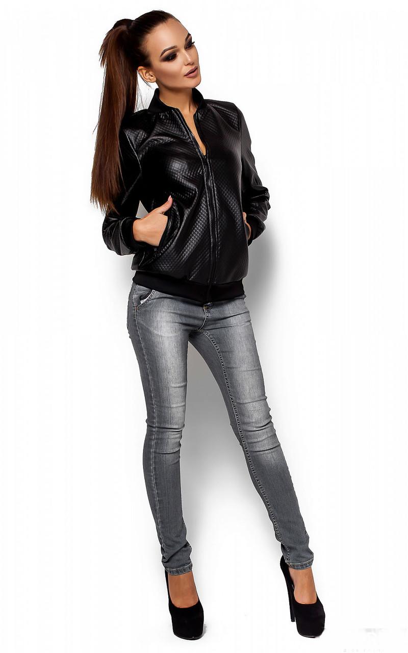 Женская куртка Бомбер черная, р.42-46