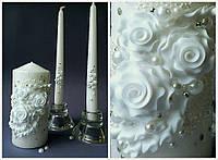 Набор свадебных свечей в белом