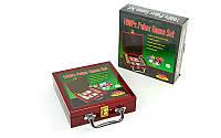 Набор для покера в деревянном кейсе на 100 фишек с номиналом, p-p 20x21x6,5см. (IG-6641)