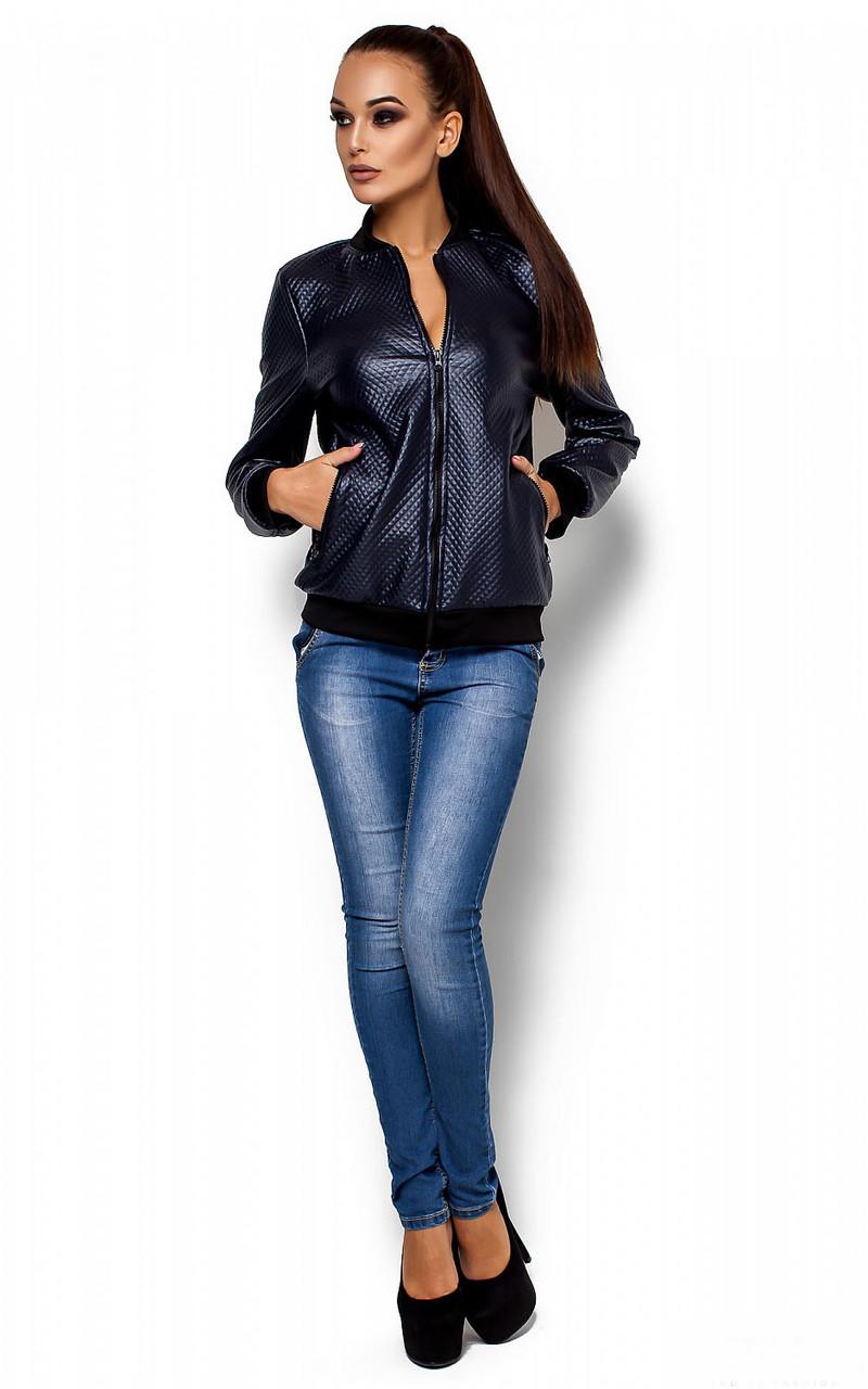 Женская куртка Бомбер темно-синяя, р.42-48