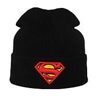 Модная женская трикотажная шапка SUPERMAN черного цвета