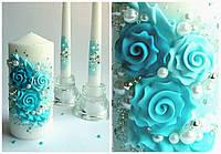 Набор свадебных свечей в бирюзовых тонах