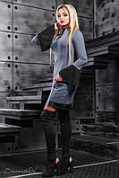 Оригинальное женское трикотажное платье, серое, размер 46