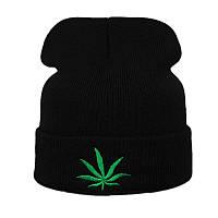 Модная женская трикотажная шапка Марихуана черного цвета