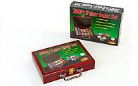 Набор для покера в деревянном кейсе на 200 фишек, p-p 30x21x6,5см. (IG-6642)