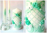 Набор свадебных свечей в мятных тонах, фото 1