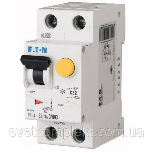 Дифференциальный автоматический выключатель PFL4-32/1N/C/003 (293301) Eaton