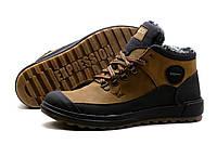 Мужские зимние кожаные ботинки Ecco Yak olive Живые фото