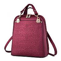 Рюкзак женский городской для девочек, девушек с цветочным орнаментом (бордовый)