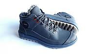 Мужские зимние кожаные ботинки Ecco Yak Expensive blue Живые фото