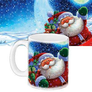 Кружка подарунок з принтом Санта Клаус Новий рік