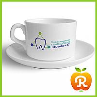 Печать на кофейных чашках. Нанесение изображения на чашку для кофе с блюдцем