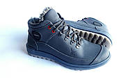 Мужские зимние кожаные ботинки Ecco Yak Expensive blue 41 Живые фото